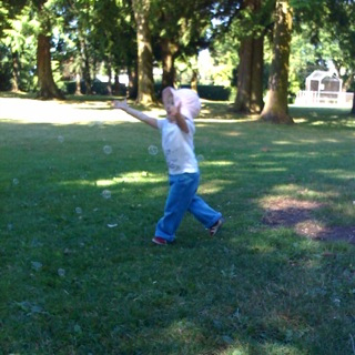 chasing bubbles in the park